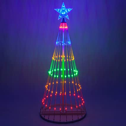 wintergreen lighting 14 function led light show cone christmas tree outdoor christmas decorations - Led Light Christmas Decorations
