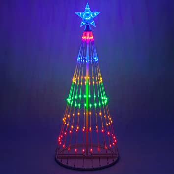 Wintergreen Lighting 14-Function LED Light Show Cone Christmas Tree,  Outdoor Christmas Decorations ( - Amazon.com : Wintergreen Lighting 14-Function LED Light Show Cone