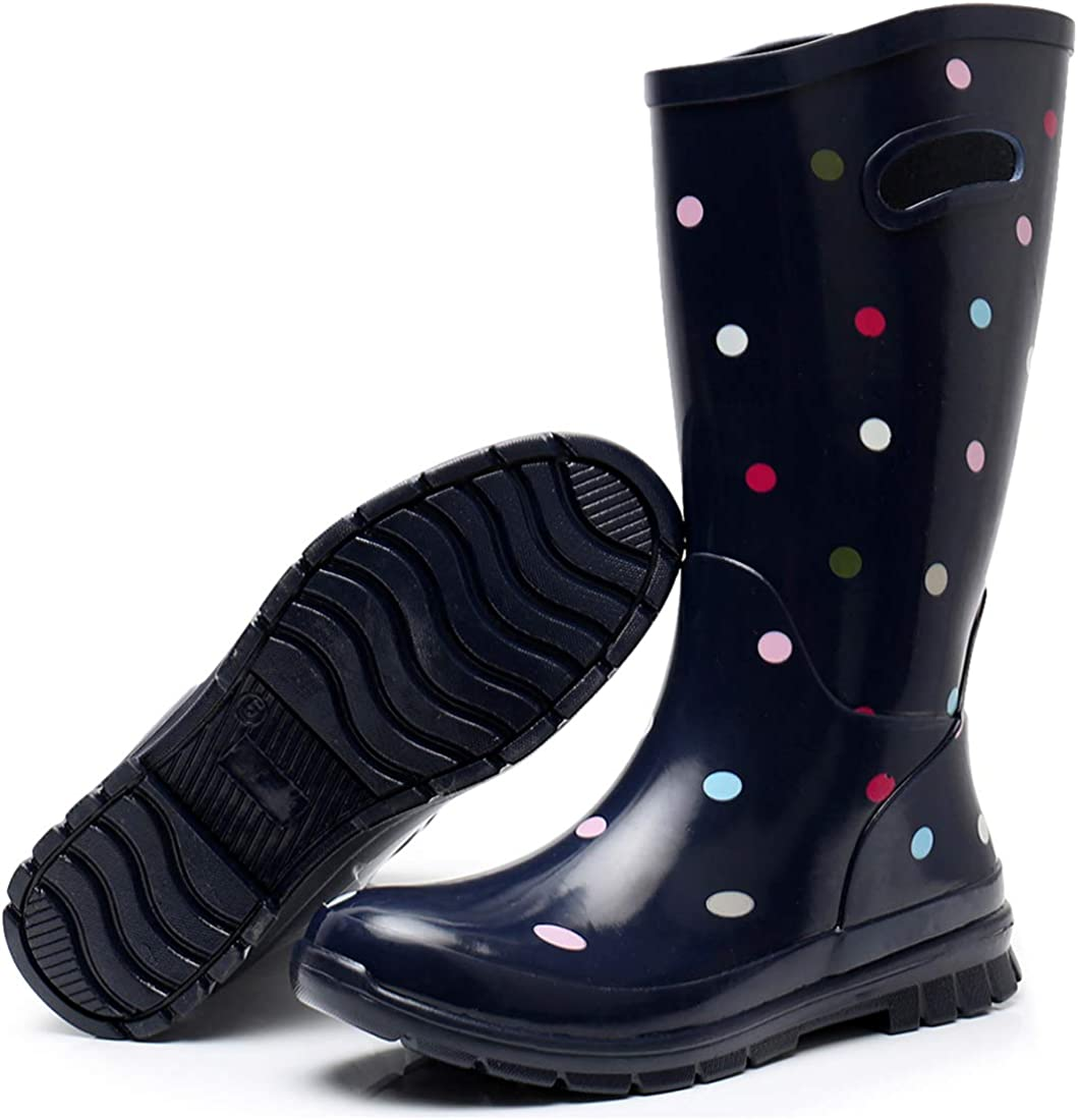 SOLARRAIN Womens Rubber Wide Calf Rain Boots for Ladies Outdoor Durable Waterproof Insulated Galoshes