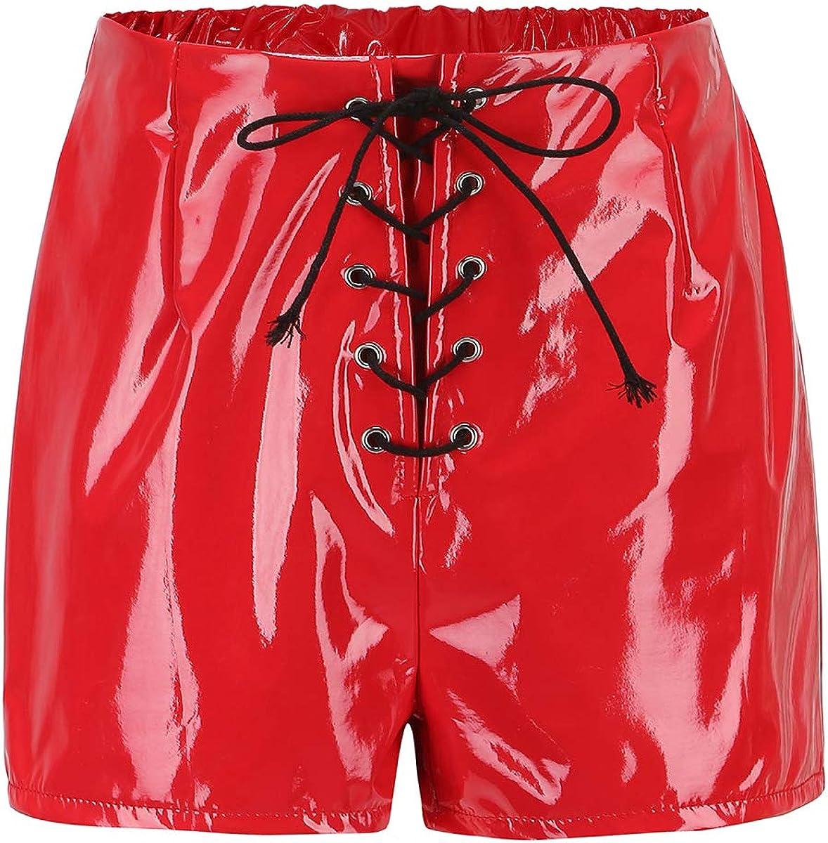 WQXD Pantalones Mujer Cintura Alta Pantalones Cuero PU Pantalones Cortos sexys otoño Espejo Mujer Pantalones Cortos Aspecto Mojado Cuero Pantalones Cortos imitación Negros Cremallera Cuerda