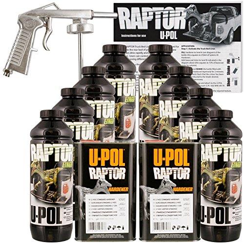 Price comparison product image U-POL Raptor Black Urethane Spray-On Truck Bed Liner Kit w/ FREE Spray Gun, 8 Liters