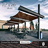 Royal Shade 12' x 16' Brown Rectangle Sun Shade Sail Canopy Outdoor Patio Fabric Shelter Cloth Screen Awning - 95% UV Protection, 200 GSM, Heavy Duty, 5 Years Warranty, Custom