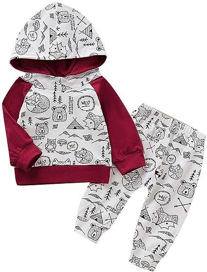 Toddler Infant Baby Boys Deer Long Sleeve Hoodie Tops Sweatsuit Pants Outfit Set
