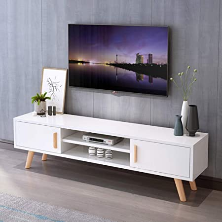 Tv Stand Free Standing Television Stands Media Entertainment Center Tv Storage Console Table Home Living Room Tv Console Storage Cabinet With Cabinet Doors And Open Storage Shelf Gaming Consoles Amazon Co Uk Kitchen