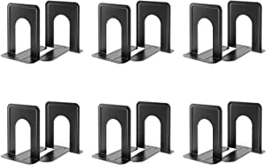 MaxGear Book Ends Universal Premium Bookends for Shelves, Non-Skid Bookend, Heavy Duty Metal Book End, Book Stopper for Books/Movies/CDs/Video Games, 6 x 4.6 x 6 in, Black (6 Pairs/12 Pieces, Large)