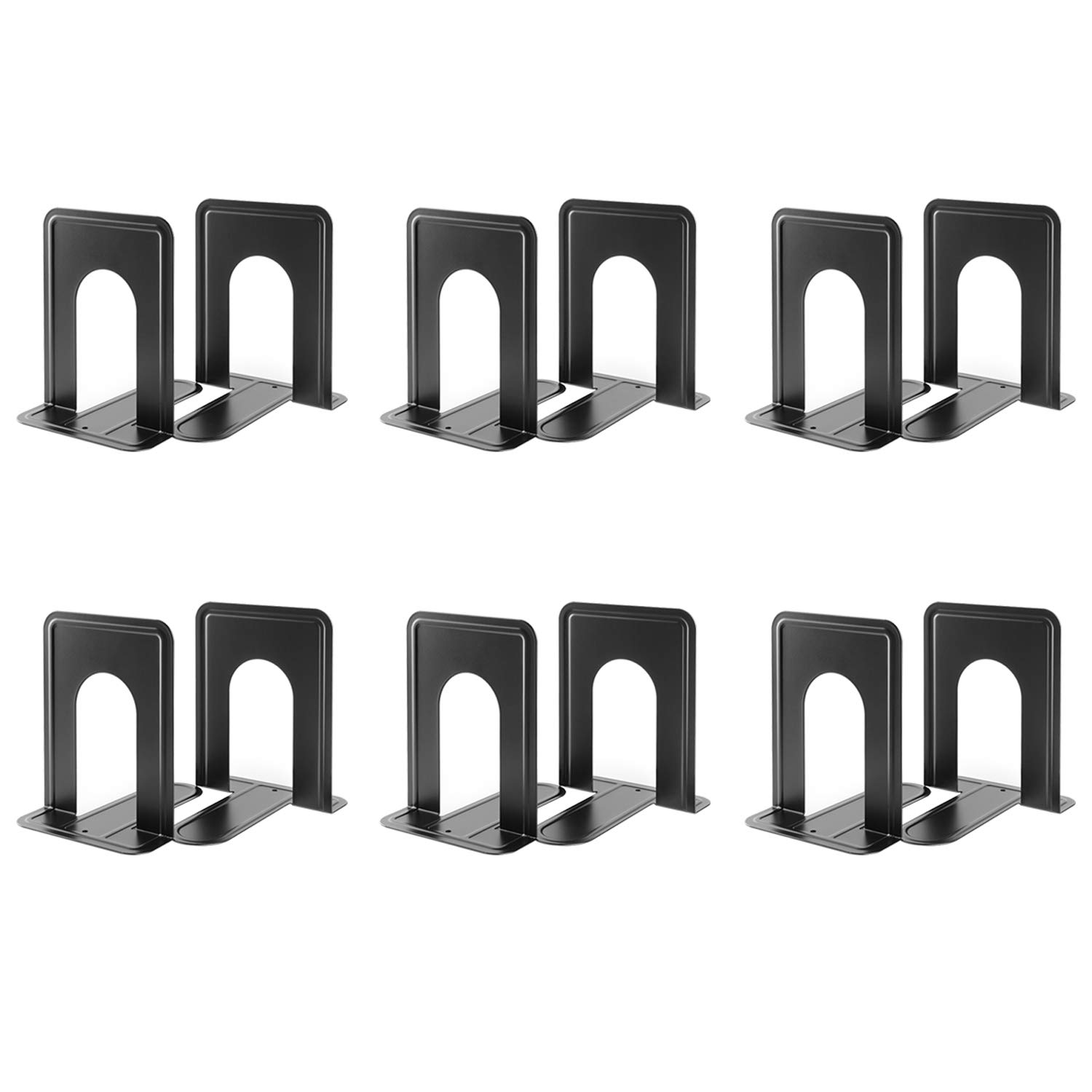 MaxGear Book Ends Universal Premium Bookends Non-Skid Heavy Duty Metal Books End, Bookend Pack, Book Stopper for Books/Movies/CDs/Video Games, 6 x 4.6 x 6 inches, Black (6 Pairs/12 Pieces, Large)