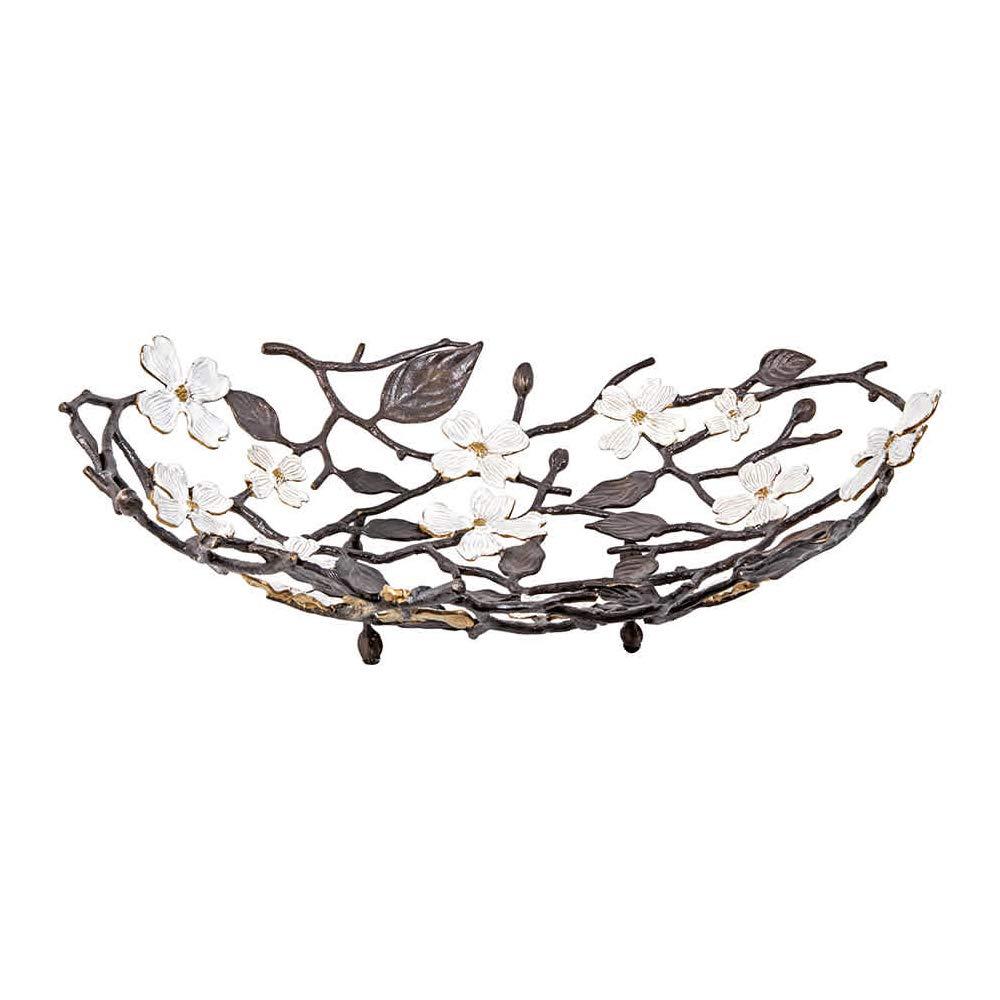 Michael Aram Dogwood oxodized brass and enamel Centerpiece Bowl (basket) by Michael Aram (Image #1)