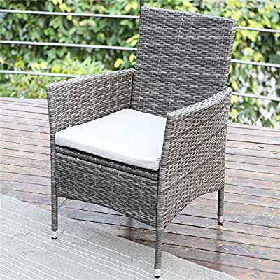 Wisteria Lane Outdoor Patio Dining Set,7 Piece Wicker Furniture Seating Conversation Rattan Chair Glass Table