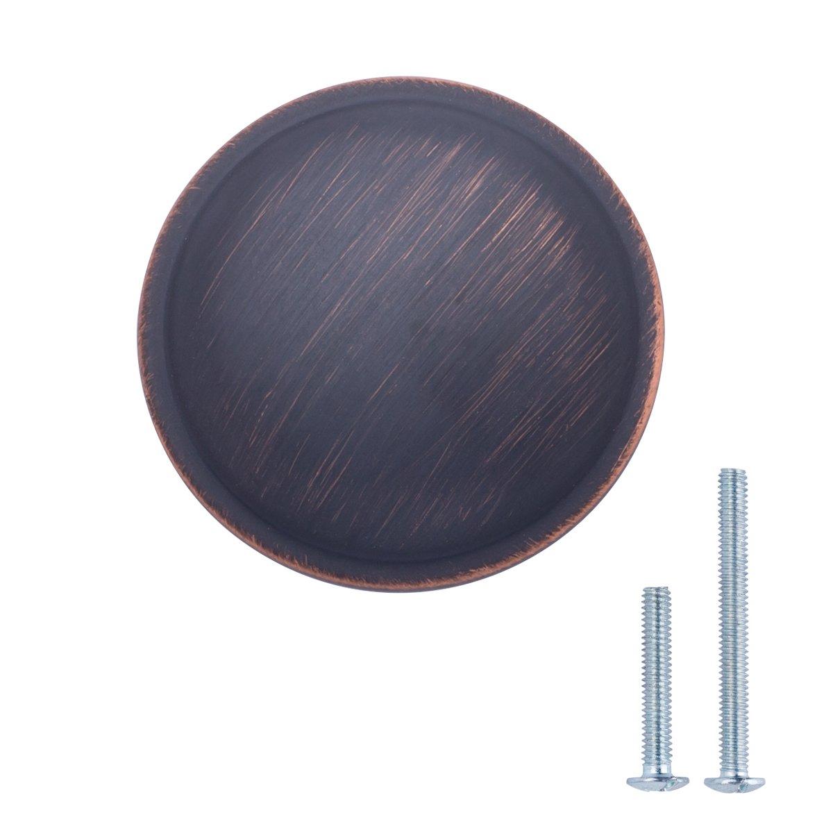 AmazonBasics Mushroom Cabinet Knob, 1.19'' Diameter, Oil Rubbed Bronze, 25-Pack