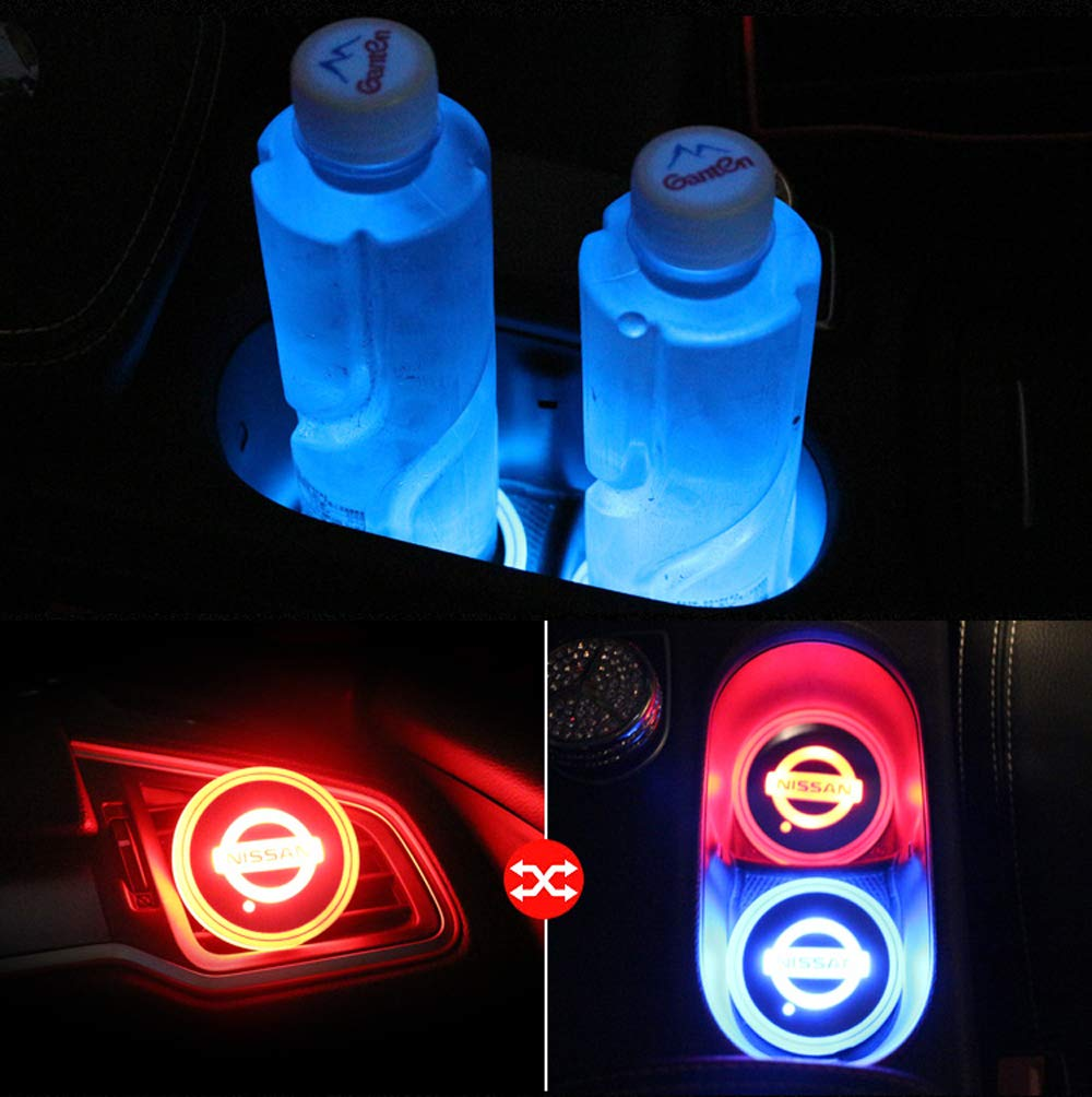Jeep face 2pcs LED Car Cup Holder Lights LED Interior Atmosphere Lamp for 7 Colors Changing USB Charging Mat Luminescent Cup Pad