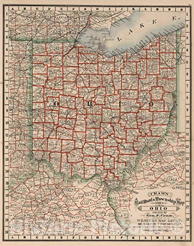 Historic Map | National Atlas | 1878 Ohio. | Vintage Wall Art | 18in x -