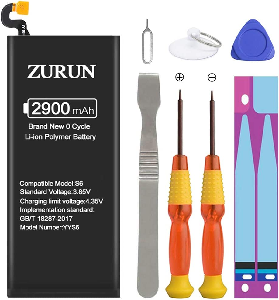 Galaxy S6 Battery ZURUN 2900mAh Li-Polymer Battery EB-BG920ABE Replacement for Samsung Galaxy S6 G920V G920A G920T G920P with Screwdriver Tool Kit | S6 Battery Replacement Kit [2 Year Warranty]: Home Audio & Theater