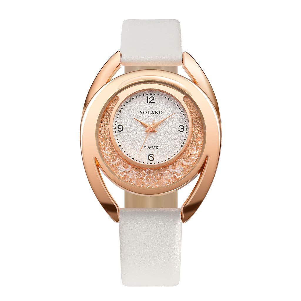 Imakcc YOLAKO Women's Parker Rose Gold-Tone Watch Leather Band Wrist Watch Valentines Day Gifts (D)