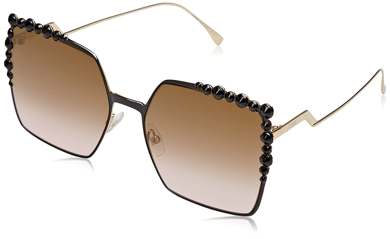 Fendi FF 0259/S 53 2O5 Gafas de sol, Negro (Black/Brw Rose Sf Fls), 60 para Mujer
