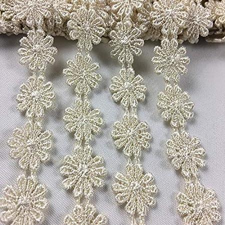 Garments Bridals Decorations DIY Sew Arts Crafts Costumes Scrapbooks Lace Trim Daisy 1//2 Wide Quality Venise Amore Fabrics 5 Yards Choose Color White Multi-Use ex