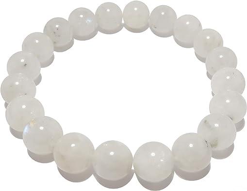 Mindfulness Gift. White Bracelet Cancer Birthstone High Quality Handmade Genuine Grade A Healing Crystals 8mm Rainbow Moonstone Bracelet