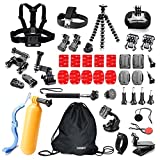 Underwater Action Camera Accessories Kit Bundle for Gopro Hero 5/4/3+2/1 Session Silver Black Camera APEMAN;YI 4K Campark ACT74/76 & NEXGADGET (42 Items)