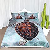 ARIGHTEX Sea Turtle Bedding Honu Turtle Wave Duvet Cover Ocean Beach Elegant Kids Adults Tropical Bedding Duvet Cover Set (Twin)