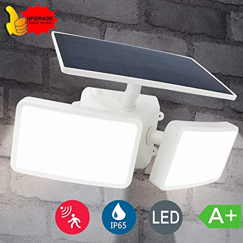 DLLT Solar Security Lights Motion Sensor, Led Flood Light Outdoor, Solar Powered Wall Spotlight, 2 Adjustable Head Dusk to Dawn Lighting for Garage, Yard, Patio, Garden, Porch Daylight 2 Mode White