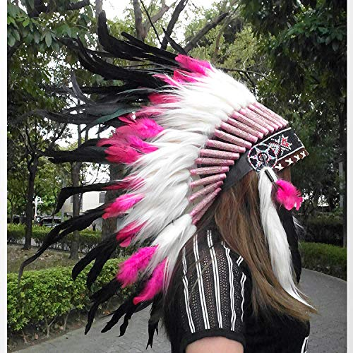 04853ca2fc1 Feather Headdress Multi-color Native American Indian Headdress Warbonnet Feather  Hat Carnival Party Halloween Christmas festival Party hat Halle Moto Black  ...