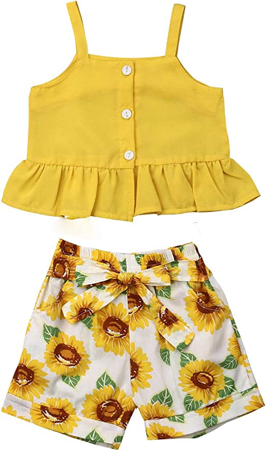 Summer Toddler Kid Baby Girl Ruffle Tops Dress Shorts Plaids Outfits Set Clothes