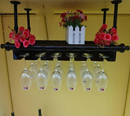 estante del vino / madera / soporte de vaso de vino colgando ...