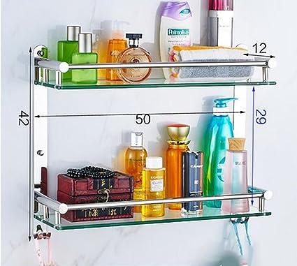 Baldas de baño Estantería de Vidrio para Cuarto de baño, 304 Estante para Estante de