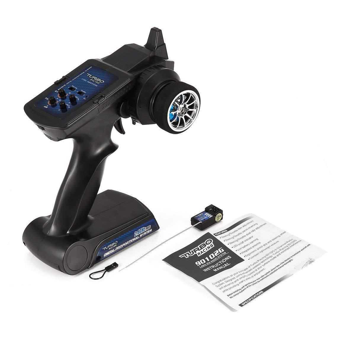 Footprintse 90102G 2.4GHz 2CH Radio Transmisor de Control Remoto con Receptor para Coche RC Vehículo Todo Terreno Barco RC Repuestos de Camiones: Amazon.es: ...