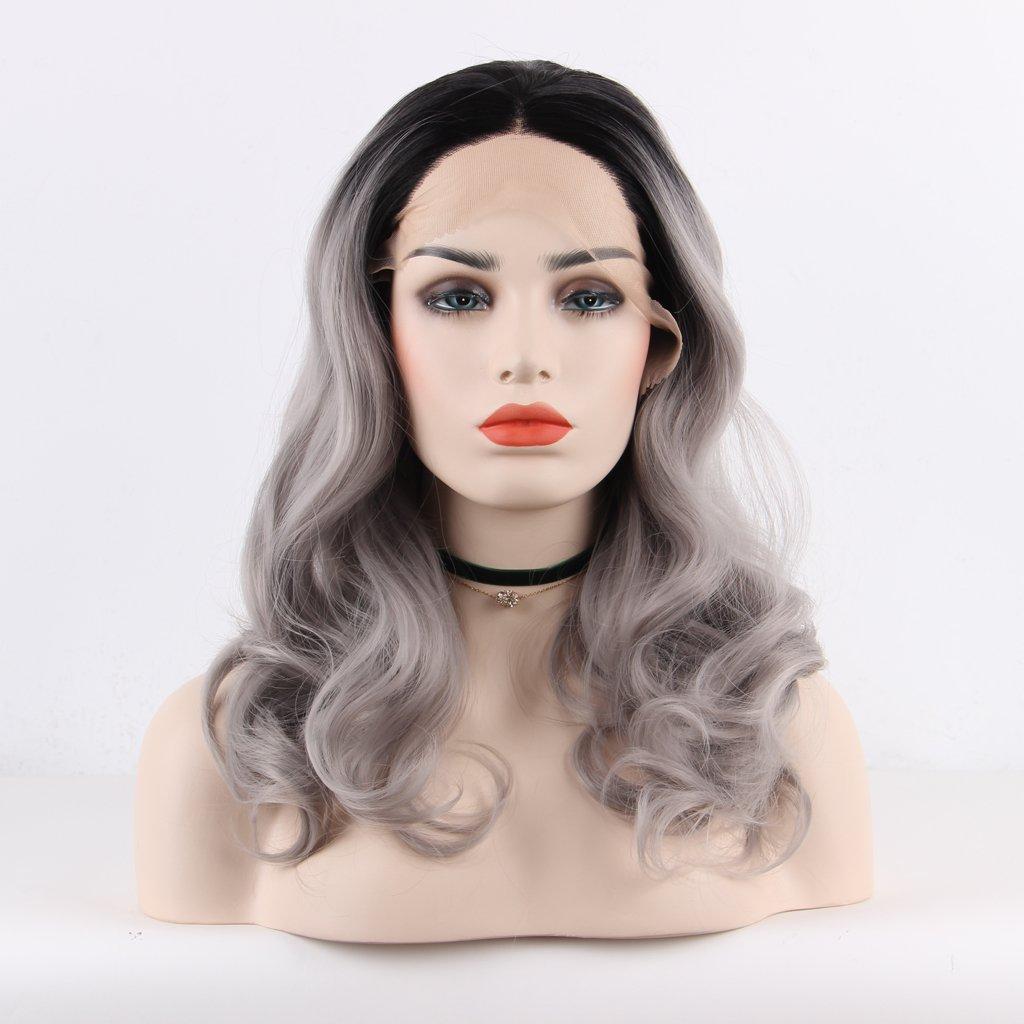 arimika Ombre Grigio Argento bodywave Heat Safe sintetica colorate Layered Lace Front Parrucca per le donne