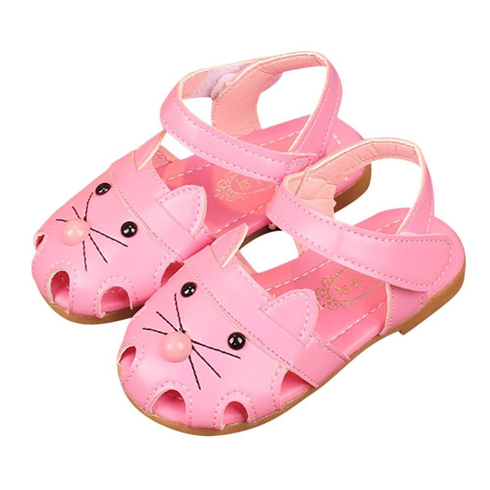 EDTO Children Infant Kids Girls Cat Cartoon Print Sandals Princess Casual Single Shoes