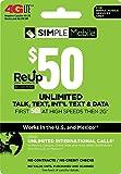 SIMPLE Mobile Refill Card - $50 ReUp Prepaid Airtime Card
