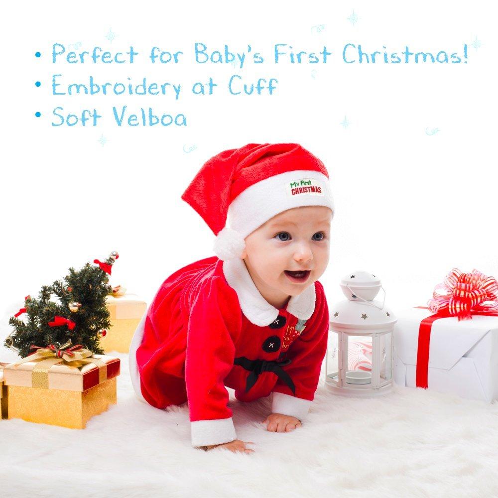 Amazon.com: JennyGems Babys First Christmas Santa Hat, Embroidered ...
