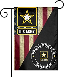 """US MILITARY U.S. Army Proud Mom of A Soldier Flag Armed Forces Double-Sided Lawn Decoration Gift House Garden Yard Banner United State American Military Veteran, 12"""" x 18.5 Made in USA"""