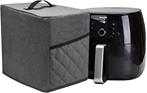 Air Fryer Dust Cover with 2 Accessory Pocket,Waterproof,Easy cleaning. (Gray, FIT FOR 5-6 QUART)