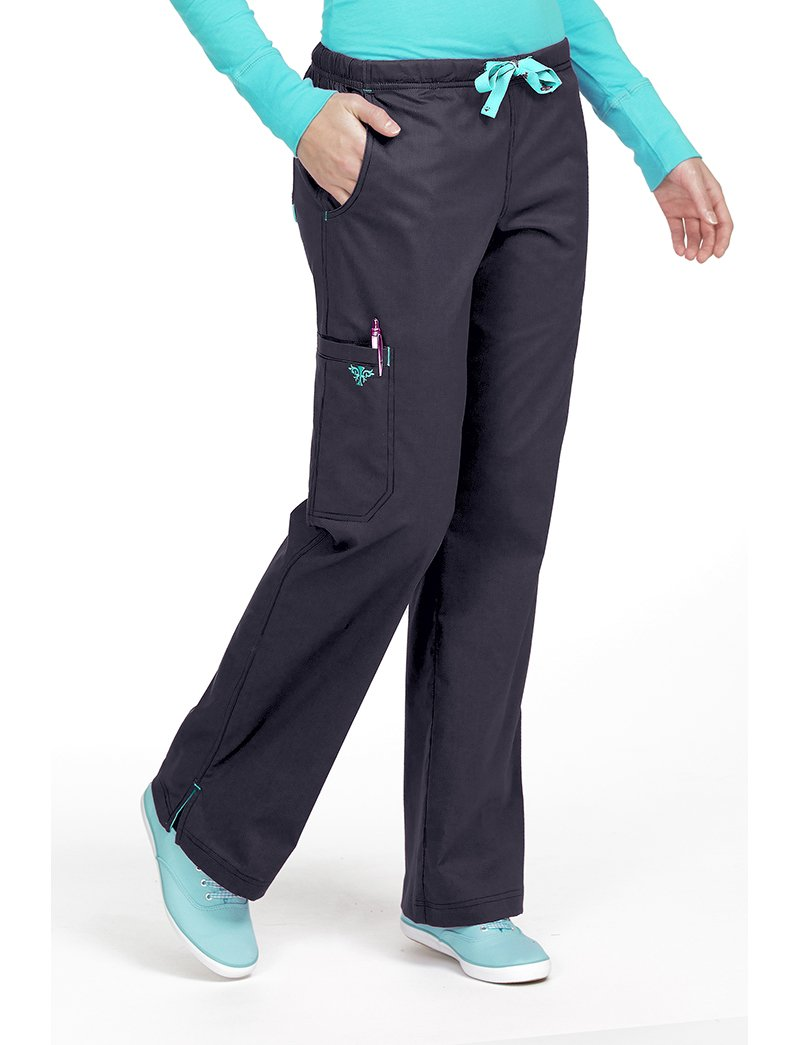 Med Couture Women's Gigi Boot Leg Scrub Pant, Charcoal/Aruba Blue, X-Large Tall