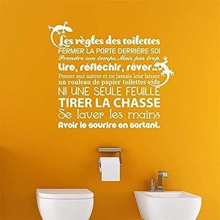 Toilettes Home Decor Wall Art Citation Décalcomanie Murale Toilette Règles Wall Stickers