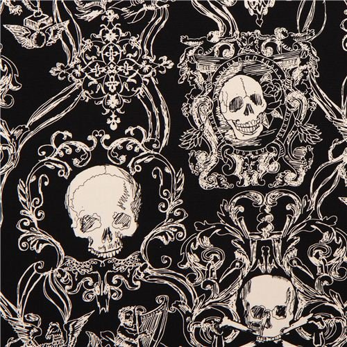 (skull heavy oxford fabric black Skullduggery Alexander Henry (per 0.5 yard multiples))