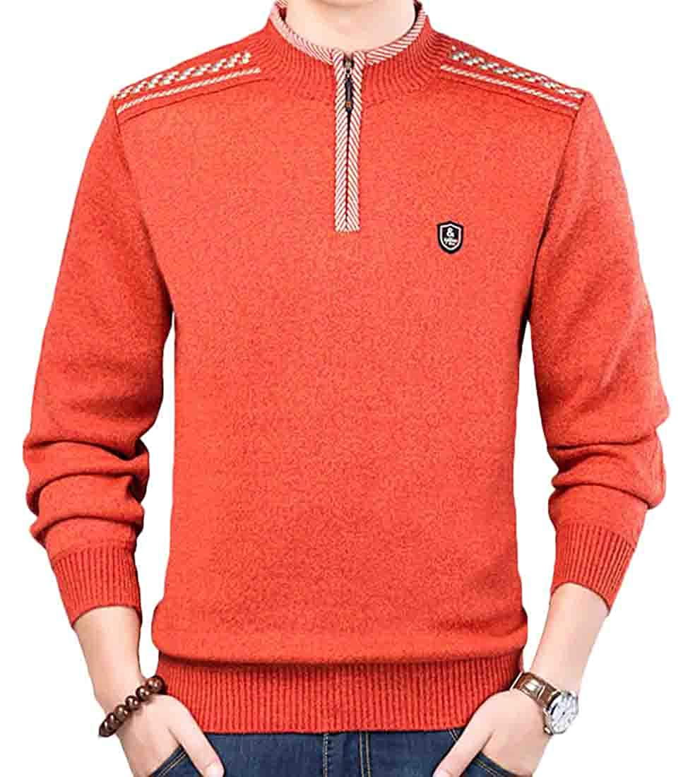 Twcx Men Knit Zip-Up Basic Stand Collar Jumper Long Sleeve Pullover Sweater