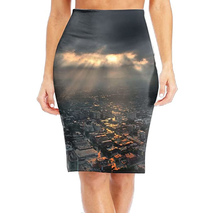 2698513e7 Sunset In The Center Of Toronto Canada Women's Fashion Printed Pencil Skirt  at Amazon Women's Clothing store: