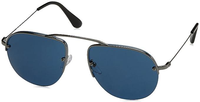 Prada 0PR58OS 5AV1V1, Occhiali da Sole Uomo, Grigio (Gunmetal/Bluee), 55
