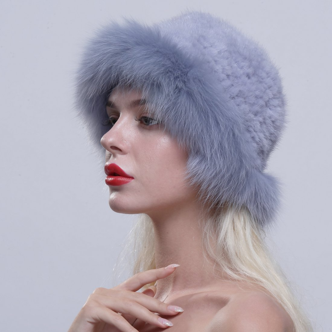 URSFUR Genuine Fox Fur Roller Hat with Knit Mink Top Sapphire by URSFUR (Image #3)