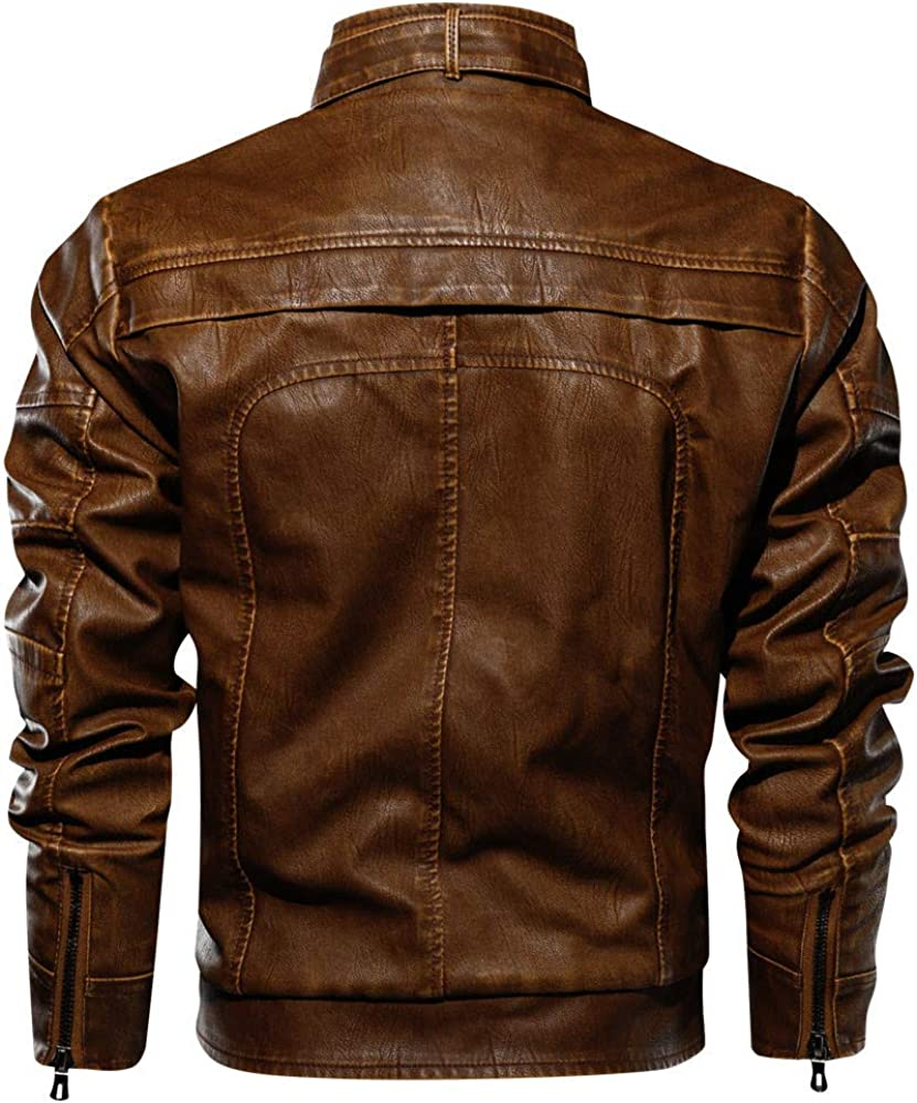kemilove Mens Vintage Biker Motorcycle Cafe Racer Leather Jacket