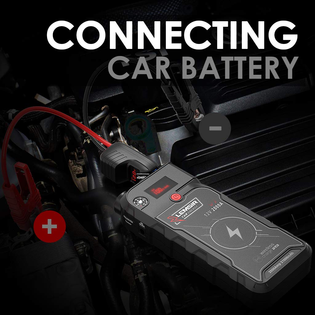 LEMSIR V1 QDSP 2000A Peak 21000mAh Car Jump Starter, Portable 12V Auto Battery Jumper up to 8.0L Gas, 8.0L Diesel, Booster Power Pack with Smart Jumper Cables,Wireless Charger by LEMSIR (Image #8)