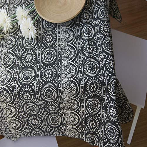 Lienzo Impreso Algodon Sun Totem Mantel De Estilo Étnico Mantel Mantel Mesa De Centro Cubierta De Hotel-Negro_140 * 180