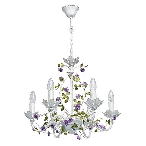 MW-Light 421014406 Lámpara de Techo Colgante Con Flores de Hierro Forjado Brazos Velas Color Blanco Púrpura Verde 6 x 40W E14