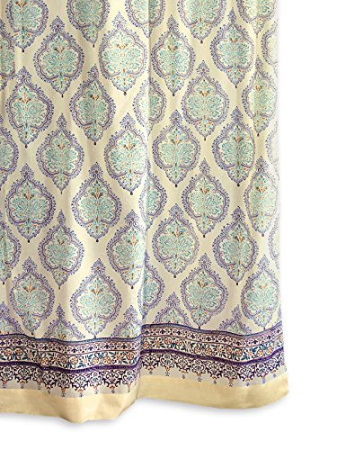 Saffron Marigold Morning Dew - Yellow and Blue French Countryside Inspired Hand Printed - Sheer Cotton Voile Curtain Panel - Tab Top or Rod Pocket - (46 x 96 (Crinkle Voile Curtain Panel)