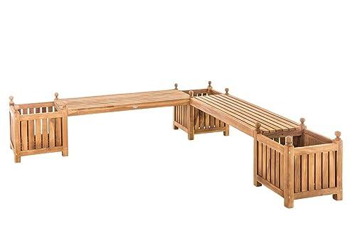 CLP Teak-Holz Gartenbank / Blumenkasten Set BALDRIAN, 2 in 1 ...