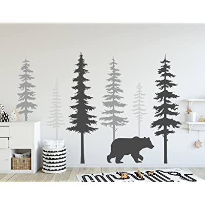 N.SunForest Nursery Wall Decals Pine Tree Wall Decals with Large Bear Wall Decal Wall Mural Stickers Nursery Tree Art Nature Wall Decals: Home & Kitchen