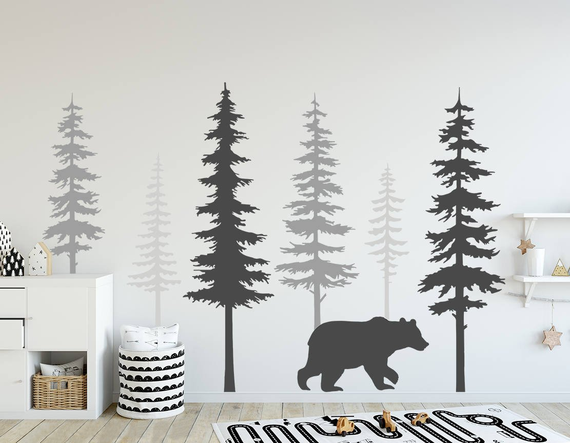 N.SunForest Nursery Wall Decals Pine Tree Wall Decals with Large Bear Wall Decal Wall Mural Stickers Nursery Tree Art Nature Wall Decals