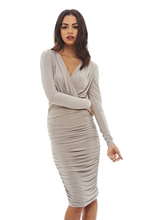 3717b838949cb AX Paris Women's V Front Slinky Midi Dress at Amazon Women's ...